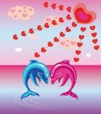 Twee enamoured dolfijnen. Stock Foto's