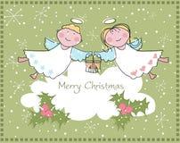 Twee engelen die Vrolijke Kerstmis wensen vector illustratie