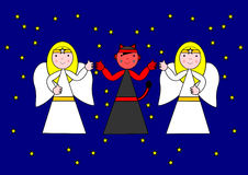 Twee engelen en de duivel Stock Afbeelding