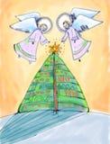 Twee engelen en Kerstboom. vector illustratie