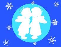 Twee engelen en sneeuwvlokken vector illustratie