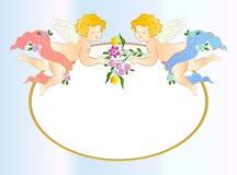 Twee engelen met bloem. Vectorkaart vector illustratie
