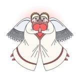Twee engelen met hart Voorraadillustratie bij godsdienstige gelegenheden royalty-vrije illustratie