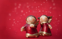 Twee engelen van Kerstmis Stock Afbeeldingen