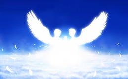 Twee engelen in zonlicht royalty-vrije illustratie