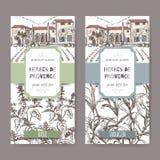 Twee etiketten met het herenhuis, het basilicum en de dragon van de Provence op wit vector illustratie