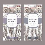 Twee etiketten van Herbes DE de Provence met herenhuis, lavendel en rozemarijn vector illustratie