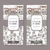 Twee etiketten van Herbes DE de Provence met herenhuis, thyme en marjolein stock illustratie