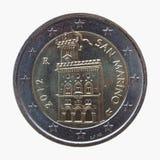 Twee euro EUR muntstuk van San Marino Stock Foto