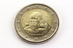 Twee euro herdenkingsgalilei van muntstukgalileo, Italië Royalty-vrije Stock Afbeelding