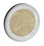 Twee euro muntstukclose-up Stock Afbeelding