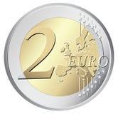 Twee euro muntstukillustratie Royalty-vrije Stock Afbeeldingen