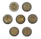 Twee euro muntstukken Stock Afbeelding