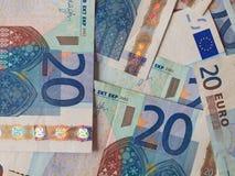 Twee euro nota's met bezinning Stock Foto