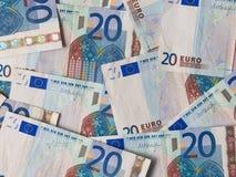 Twee euro nota's met bezinning Royalty-vrije Stock Foto