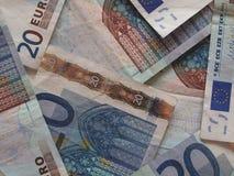 Twee euro nota's met bezinning Royalty-vrije Stock Fotografie