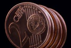 Twee eurocentmuntstuk Stock Afbeelding
