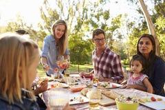 Twee families die een picknick in een park hebben, vrouw het dienen royalty-vrije stock foto's