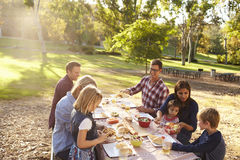 Twee families die een picknick hebben samen bij een lijst in een park stock foto