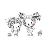 Twee feeën op een witte achtergrond Royalty-vrije Stock Foto's