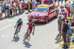Twee Fietsers op Col. du Glandon - Ronde van Frankrijk 2015 stock afbeeldingen