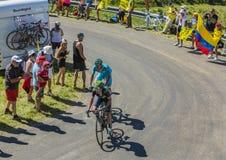 Twee Fietsers op Grote Colombier - Ronde van Frankrijk 2016 Royalty-vrije Stock Foto's