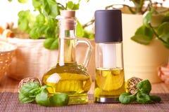 Twee flessen met olijfolie en de olie van het druivenzaad Royalty-vrije Stock Foto