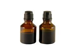 Twee flessen van jodium en briljante groen Stock Afbeeldingen