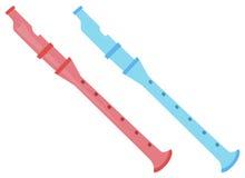 Twee fluiten in roze en blauw royalty-vrije illustratie