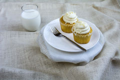 Twee Franse Vanille Cupcakes en een glas melk Stock Fotografie