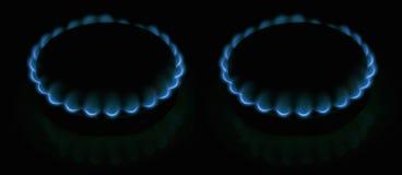 Twee gas-ringen Stock Afbeeldingen
