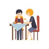Twee Gasten die Lunch hebben bij Illustratie van het Restaurant de Hotel Als thema gehade Primitieve Beeldverhaal royalty-vrije illustratie