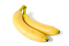 Twee geïsoleerde bananen Stock Foto