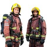 Twee geïsoleerde brandweerlieden Stock Foto's