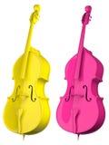 Twee geïsoleerde Cello heldere kleuren Royalty-vrije Stock Afbeeldingen