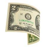 Twee geïsoleerde dollars Royalty-vrije Stock Fotografie