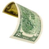 Twee geïsoleerde dollars Royalty-vrije Stock Foto
