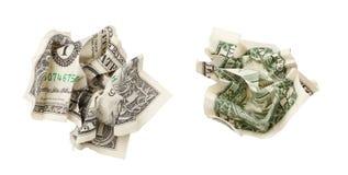 Twee geïsoleerde kanten van één verfrommelde dollar Royalty-vrije Stock Afbeelding