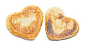 Twee geïsoleerde pannekoeken van de hartvorm Stock Afbeelding