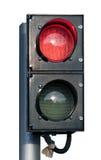 Twee geïsoleerde signaal rood en groen verkeerslicht Stock Foto