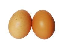Twee geïsoleerdeb eieren Stock Foto's