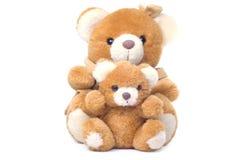 Twee geïsoleerdeo teddybears Stock Afbeelding
