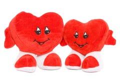 Twee geïsoleerdet harten van de Valentijnskaart Stock Foto's