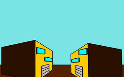 Twee gebouwen met een garage vector illustratie