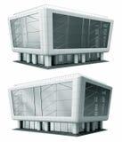 Twee gebouwen, wolkenkrabbers en het winkelen en bureaucentrum Moderne architectuur Stock Afbeelding