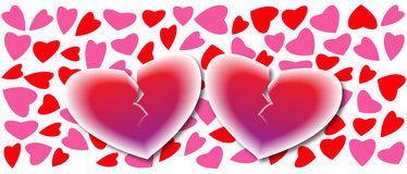 Twee Gebroken Harten op de Achtergrond van Harten, de Kaart van de Liefde Stock Fotografie