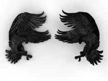 Twee gedetailleerde zwarte adelaars stock illustratie