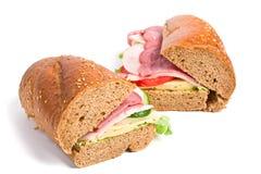 Twee gehele sandwiches van tarwebaguette Royalty-vrije Stock Foto