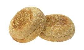 Twee gehele tarwe Engelse muffins Stock Foto