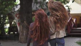 Twee gekke roodharigenmeisjes die pret hebben, stoeien en springen De mening van de rug Langzame Motie stock videobeelden